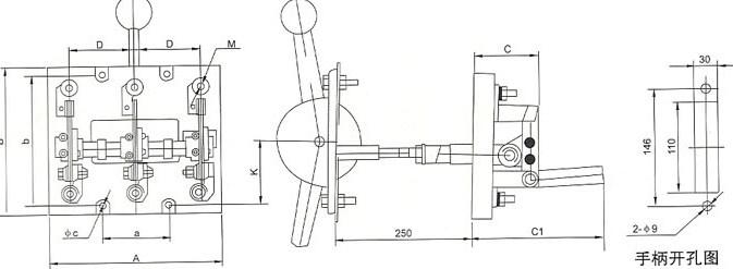系列单投开关外形与安装尺寸